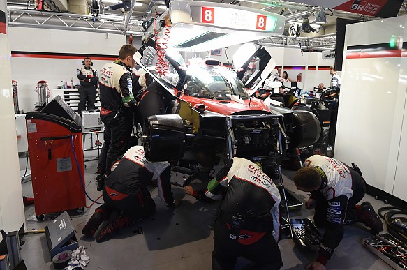 Toyota in garage Le Mans 24 Hours 2017