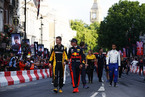 Nico Hulkenberg and Max Verstappen F1 Live London