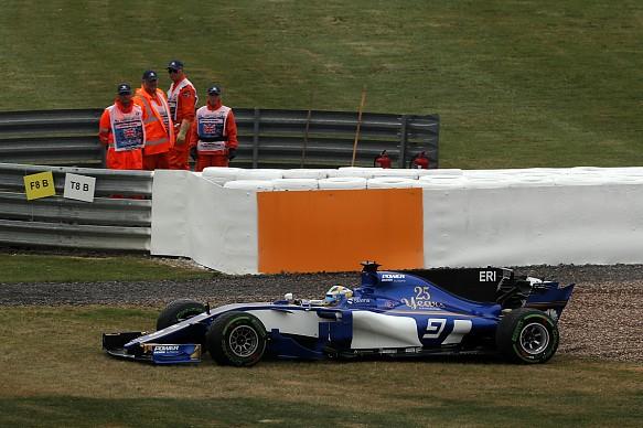 Marcus Ericsson spin Sauber British GP practice 2017