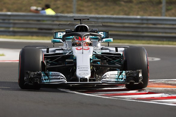 George Russell Mercedes halo test Hungary 2017
