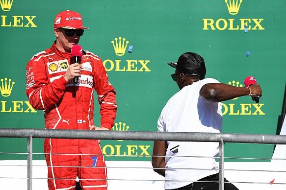 Kimi Raikkonen Usain Bolt US GP podium F1 2017