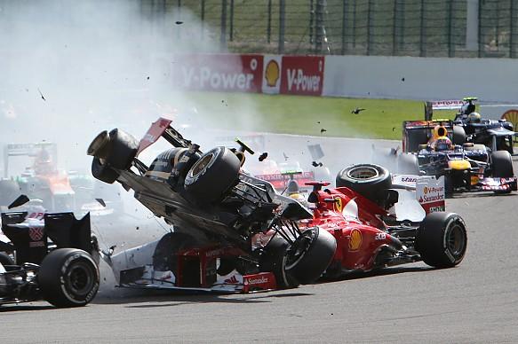Grosjean Alonso crash 2012 Belgian GP
