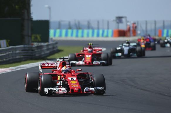 Sebastian Vettel leads Kimi Raikkonen and Valtteri Bottas Hungarian Grand Prix 2017