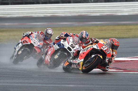 Marc Marquez, Danilo Petrucci and Andrea Dovisioso at MotoGP San Marino Grand Prix