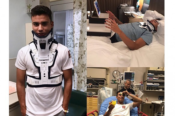 Pascal Wehrlein injured back Twitter images