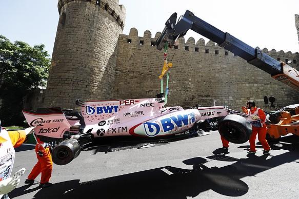 Sergio Perez crash Baku 2017