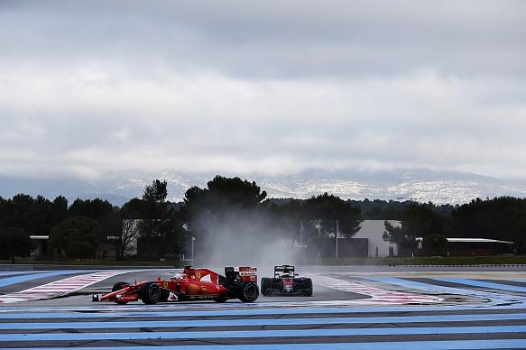 Sebastian Vettel Ferrari Stoffel Vandoorne McLaren wet weather tyre test Paul Ricard 2016