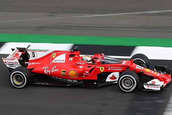 Sebastian Vettel Ferrari shield British GP practice 2017