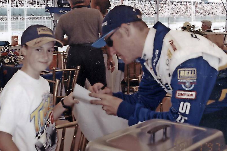James Hinchcliffe aged 12 with Greg Moore