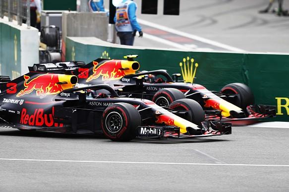 Max Verstappen and Daniel Ricciardo Baku F1 2018