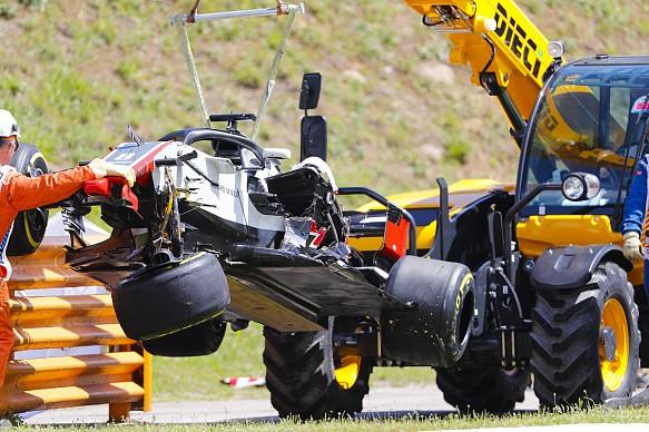 Romain Grosjean crash Spanish GP 2018
