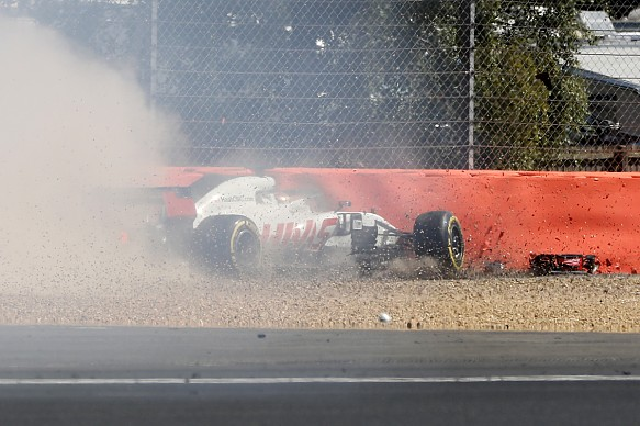 Romain Grosjean Haas British Grand Prix 2018 crash
