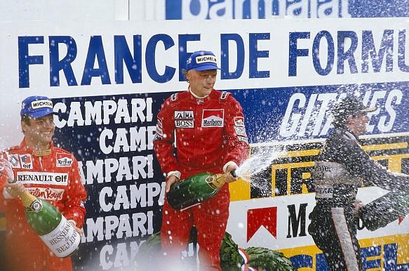 Niki Lauda wins 1984 French GP podium