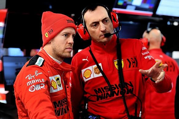 Sebastian Vettel engineer 2020 Ferrari Barcelona testing