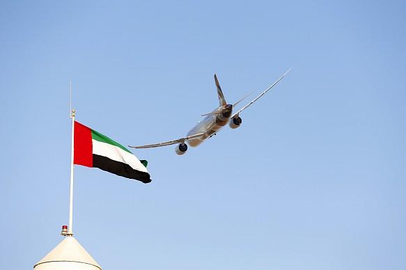 Abu Dhabi F1 plane and flag