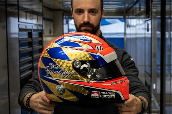 James Hinchcliffe Greg Moore helmet