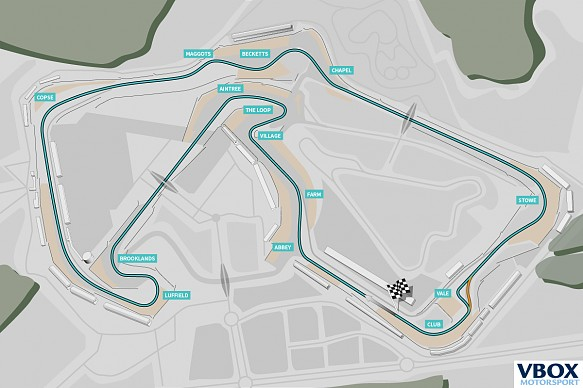 Silverstone Performance VBOX track map with corner names