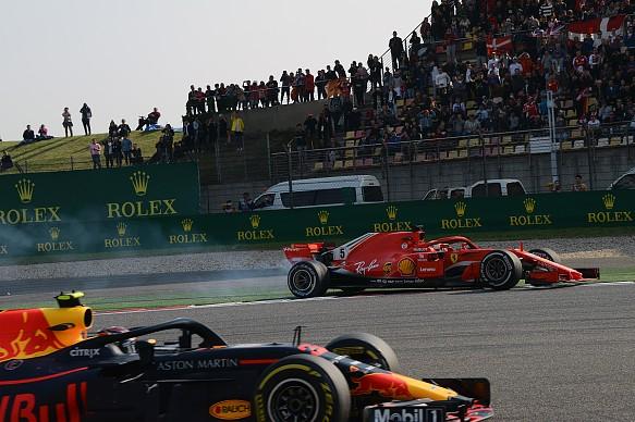 Sebastian Vettel and Max Verstappen collide Chinese GP 2018
