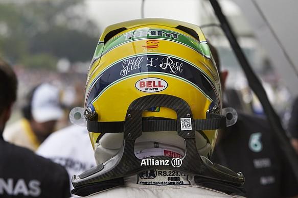 Lewis Hamilton Senna tribute helmet 2015