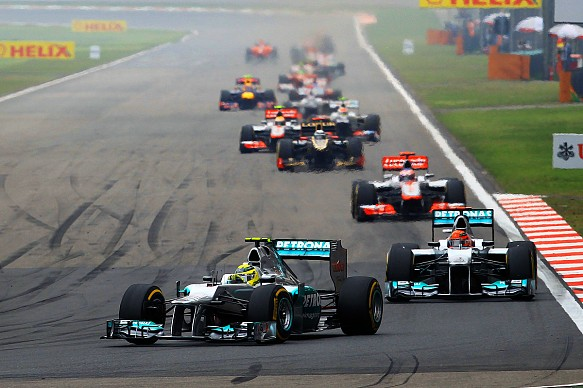 F1 China 2012 Rosberg Schumacher backstraight