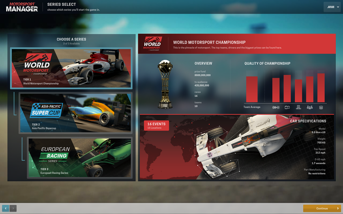 Series select screen, Motorsport Manager
